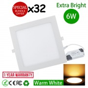 32pcs 6W 4 inch LED Ceiling Light Square Warm White